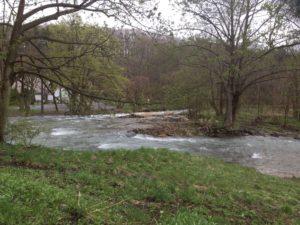 笹流ダムの入口付近の川