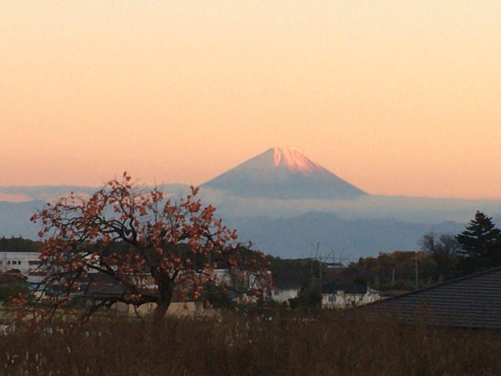小淵沢から見た夕方の富士山