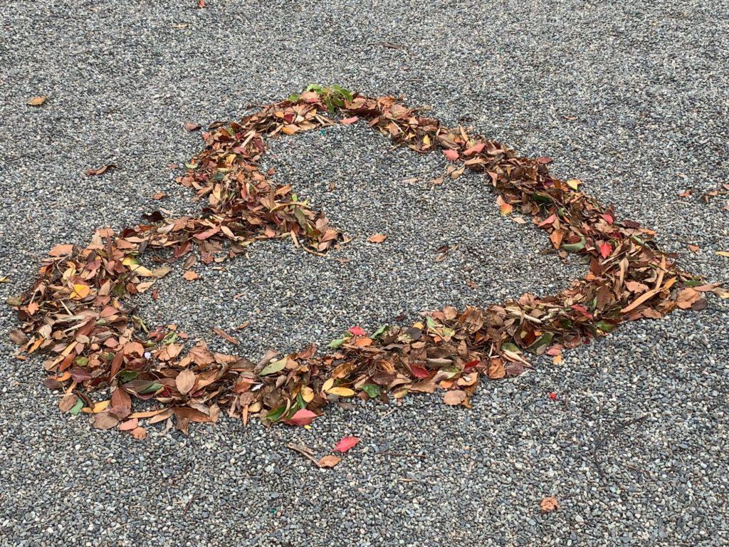 落ち葉のハートマーク